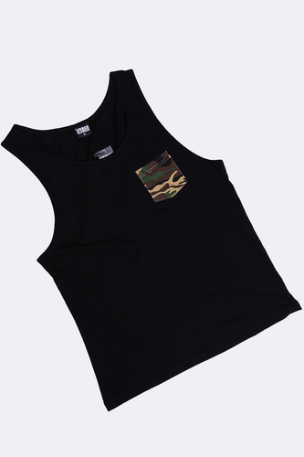 Майка URBAN CLASSICS Contrast Pocket Jersey Big Tank Black/Wood Camo фото 8