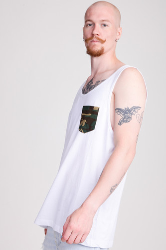 Майка URBAN CLASSICS Contrast Pocket Jersey Big Tank White/Wood Camo фото 5