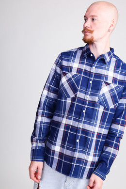 Рубашка URBAN CLASSICS Check Shirt Indigo/White/Red/Goldenoak фото