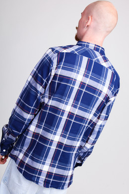 Рубашка URBAN CLASSICS Check Shirt Indigo/White/Red/Goldenoak фото 2