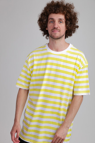 Футболка URBAN CLASSICS Oversized Yarn Dyed Bold Stripe Tee (Yellow/White, M)