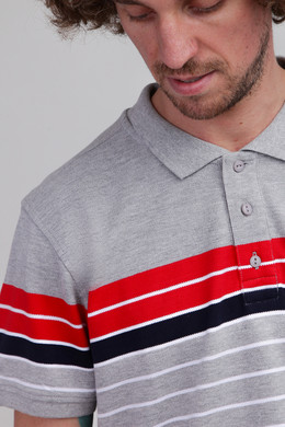Поло URBAN CLASSICS Classic Stripe Polo Grey/Firered/Navy/White фото