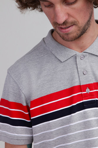 Поло URBAN CLASSICS Classic Stripe Polo Grey/Firered/Navy/White фото 4
