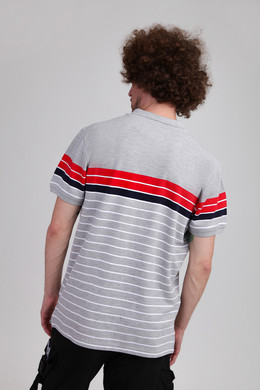 Поло URBAN CLASSICS Classic Stripe Polo Grey/Firered/Navy/White фото 2
