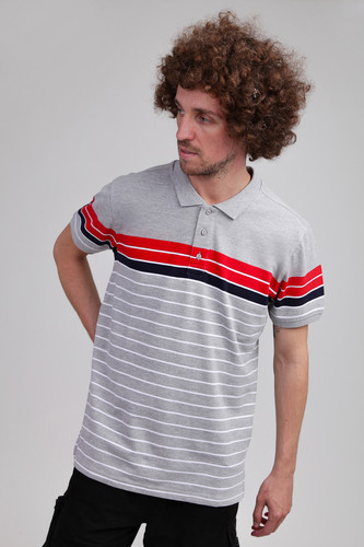 Поло URBAN CLASSICS Classic Stripe Polo Grey/Firered/Navy/White фото 6