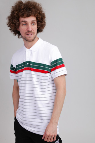 Поло URBAN CLASSICS Classic Stripe Polo White/Dark Freshgreen/Firered/Grey фото 4