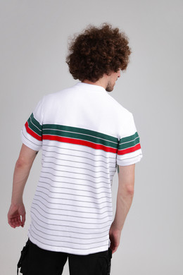 Поло URBAN CLASSICS Classic Stripe Polo White/Dark Freshgreen/Firered/Grey фото 2