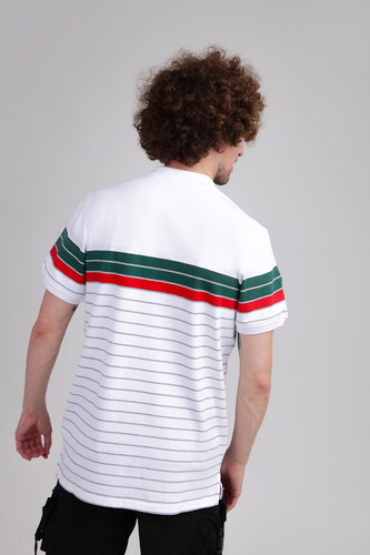 Поло URBAN CLASSICS Classic Stripe Polo White/Dark Freshgreen/Firered/Grey фото 5