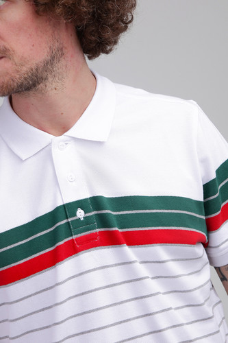 Поло URBAN CLASSICS Classic Stripe Polo White/Dark Freshgreen/Firered/Grey фото 6