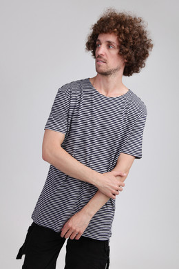 Футболка URBAN CLASSICS Yarn Dyed Baby Stripe Tee Mid Night Navy/Grey фото