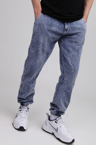 Брюки URBAN CLASSICS Acid Washed Corduroy Jog Pants Indigo фото 9