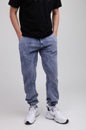 Брюки URBAN CLASSICS Acid Washed Corduroy Jog Pants Indigo фото 11