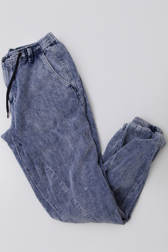 Брюки URBAN CLASSICS Acid Washed Corduroy Jog Pants Indigo фото 12