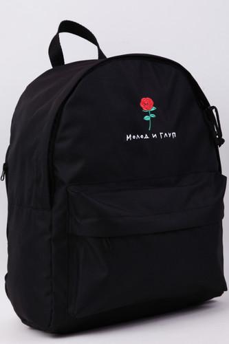 Рюкзак NICENONICE Молод и глуп с розой (Черный)