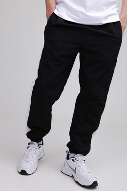 Брюки URBAN CLASSICS Side Striped Crinkle Track Pants Black/White фото