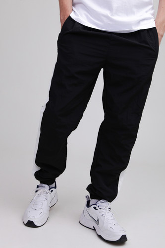 Брюки URBAN CLASSICS Side Striped Crinkle Track Pants (Black/White, XL) леггинсы urban classics ladies jersey leggings black xl