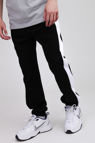 Брюки URBAN CLASSICS 2-Tone InterlockTrack Pants (Black/White, XL) брюки urban classics straight fit sweatpants white xs
