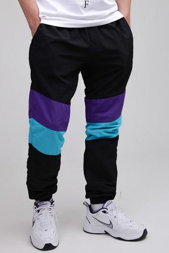 Брюки URBAN CLASSICS 3-Tone Crinkle Track Pants (Black/Ultraviolet/Aqua, M)