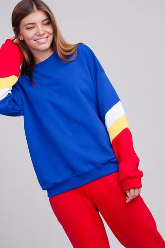 Свитшот SUKOVA SY-01-00-V (Синий с желто-красно-белыми вставками, XL)