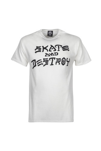 Футболка THRASHER SKATE&DESTROY-S/S (White, L) thrasher толстовка thrasher skate mag gray xl