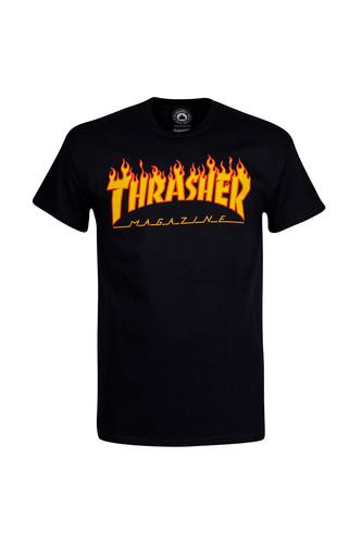Футболка THRASHER FLAME LOGO (Black, M) thrasher нашивка thrasher logo patch one size