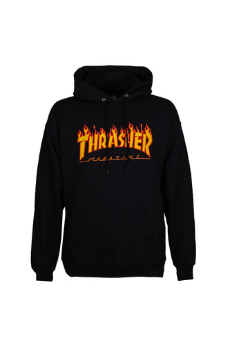 Толстовка THRASHER FLAME HOOD (Black, M) цена