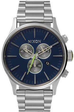 Часы NIXON Sentry Chrono Midnight Blue/Volt Green фото