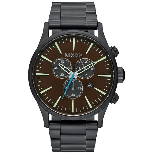 Часы NIXON Sentry Chrono ALL BLACK/BRASS/BROWN фото 2