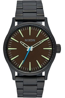 Часы NIXON SENTRY 38 SS ALL BLACK/BROWN фото