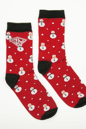Носки ЗАПОРОЖЕЦ Снеговик женские (Красный, O/S) цена