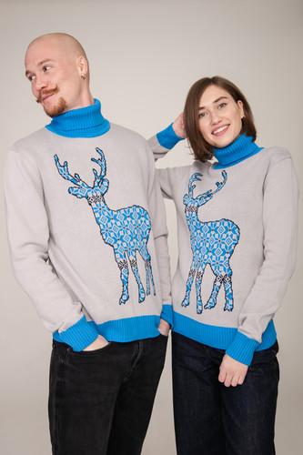 Свитер ЗАПОРОЖЕЦ Deer x Helga (Grey/Blue, L)