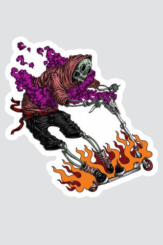 Наклейка SKILLS Kickscooter Rider (Разноцветный)