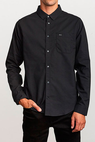 Рубашка RVCA Thatll Do Stretch LS (Black 19, M) rvca men s that ll do oxford shirt