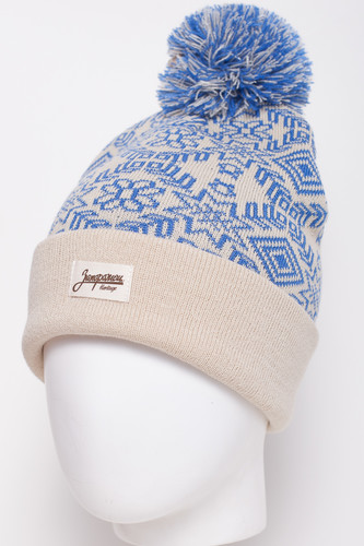 Шапка ЗАПОРОЖЕЦ Karpatians Pumpon/Карпаты Помпон (Beige/Blue) шапка с помпоном запорожец узор 1 blue white