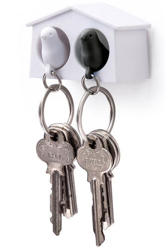 Держатель+брелок для ключей двойной mini sparrow белый-черный (белый)