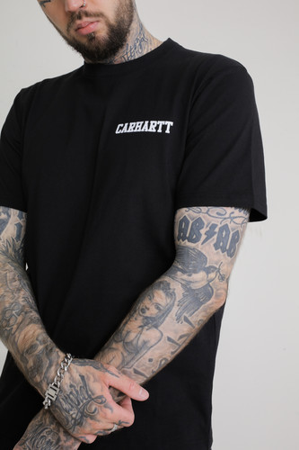 Футболка CARHARTT S/S College Script T-Shirt (Black/White, XL)