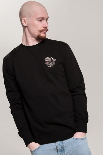 Толстовка MISTER TEE Embroidered Panther Crewneck Black фото 5