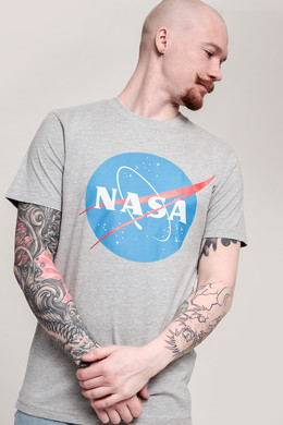 Футболка MISTER TEE NASA Tee Heather Grey фото