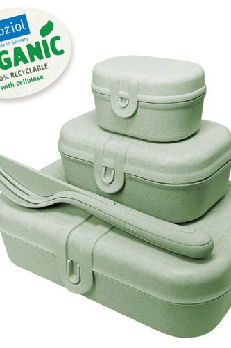 Набор из 3 ланч-боксов и столовых приборов pascal organic зеленый (зеленый)