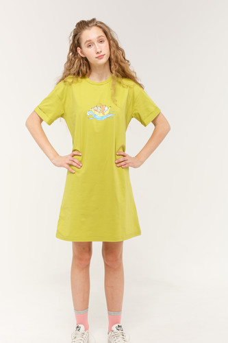 цена Платье-футболка ANIMALS Банан (Зеленый, L) онлайн в 2017 году
