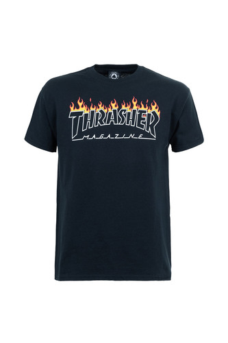 Фото - Футболка THRASHER SCORCHED OUTLINE-S/S (Black, XL) thrasher кепка thrasher flame logo
