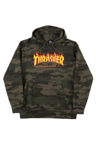 Толстовка THRASHER FLAME HOOD (Camo, L) thrasher толстовка thrasher skate mag gray xl