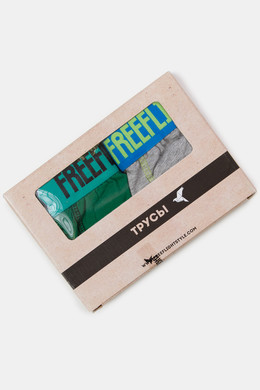 Трусы FREE FLIGHT Vol.7 Light Grey Melange/Green фото 2