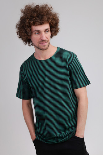 Футболка URBAN CLASSICS Yarn Dyed Baby Stripe Tee (Dark Fresh Green/Black, S) contrast stripe knot tee