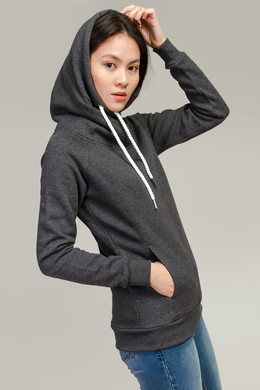 Толстовка URBAN CLASSICS Ladies Raglan High Neck Hoody Charcoal фото
