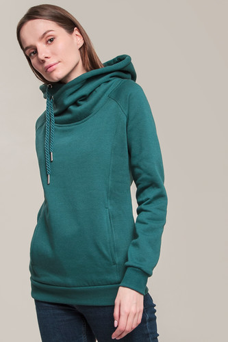 Толстовка URBAN CLASSICS Ladies Raglan High Neck Hoody (Teal, S)