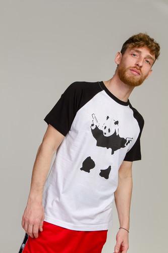 Футболка URBAN CLASSICS Banksy Panda Raglan Tee (White/Black, S)