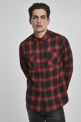 Рубашка URBAN CLASSICS Checked Flanell Shirt 6 Black/Red фото