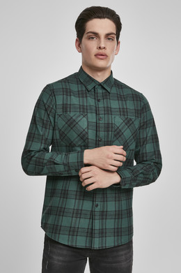 Рубашка URBAN CLASSICS Checked Flanell Shirt 7 Dark Green/Black фото