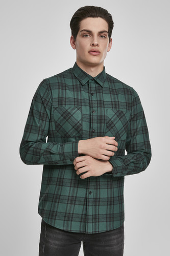 Рубашка URBAN CLASSICS Checked Flanell Shirt 7 (Dark Green/Black, 3XL) outdoor checked pattern artificial wool fringed shawl scarf